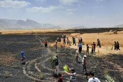 آتش ۱۰ هکتار از مزارع گندم «پلدختر» را خاکستر کرد