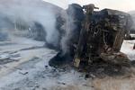 حریق تانکر حامل سوخت در جاجرود/راننده جان باخت