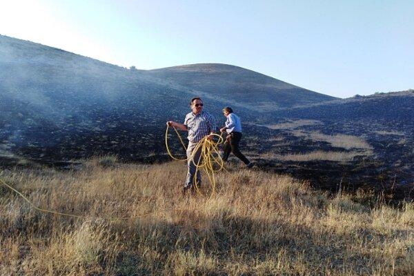 حریق گسترده در مراتع سد ماملو/بخش وسیعی از مراتع در آتش سوخت