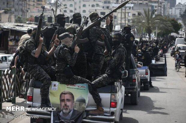 رژه نظامی «سرایا القدس» برای بزرگداشت یاد دکتر عبدالله در غزه
