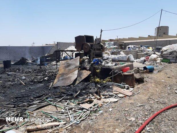 آتشسوزی مهیب در انبار ضایعات در اهواز