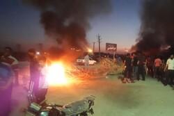 اهالی روستای ام اطمیر اهواز جاده قدیم خرمشهر را بستند