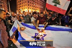 Lübnan'da ABD ve İsrail bayrakları yakıldı