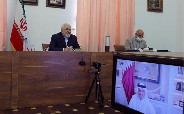 Zarif holds talks with Qatari counterpart via videoconference