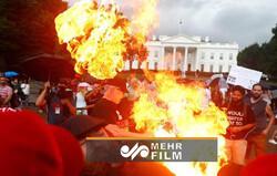 VIDEO: Protestors burn US flag outside White House