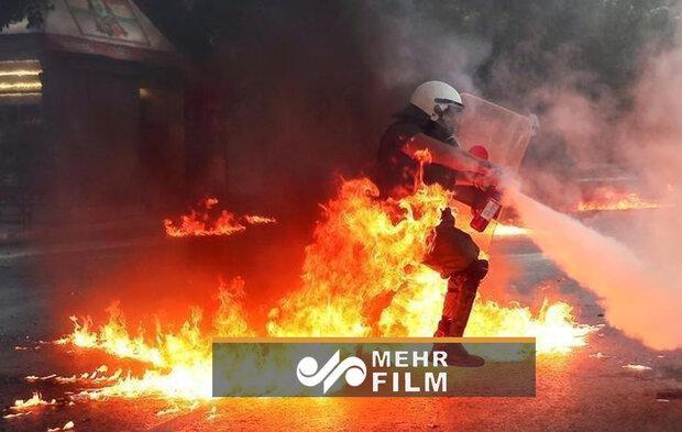 درگیری نیروهای امنیتی یونان با معترضان در آتن