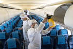 مہر آباد ايئر پرورٹ پر مسافر بردار طیاروں میں سینیٹائزر کا چھڑکاؤ