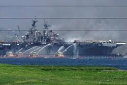 کیلی فورنیا میں امریکی بحریہ کے جہاز میں آگ لگنے سے 21 افراد زخمی