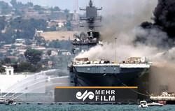 انفجار واحتراق سفينة حربية أميركية في قاعدة بحرية بكاليفورنيا