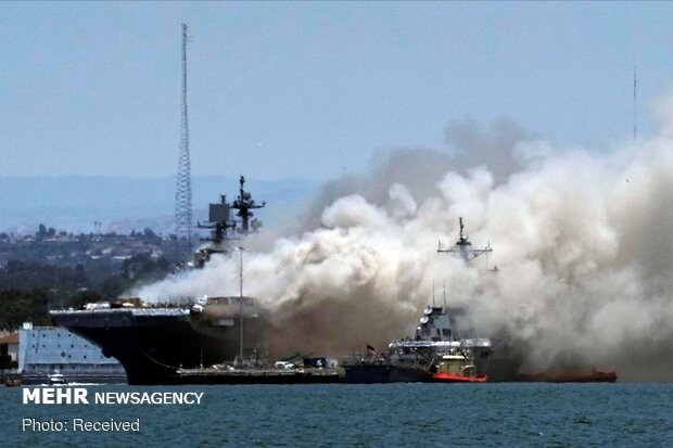 57 injured in fire aboard US warship