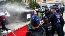 """تظاهرات علیه """"امانوئل مکرون"""" رئیس جمهور فرانسه در بروکسل"""