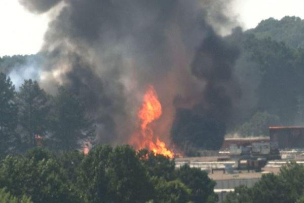 Large blaze at chemical plant near Atlanta airport