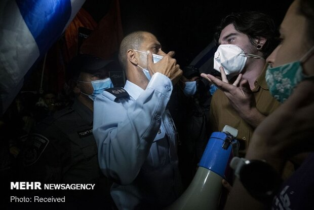 Netanyahu'nun evinin önündeki göterilerden fotoğraflar