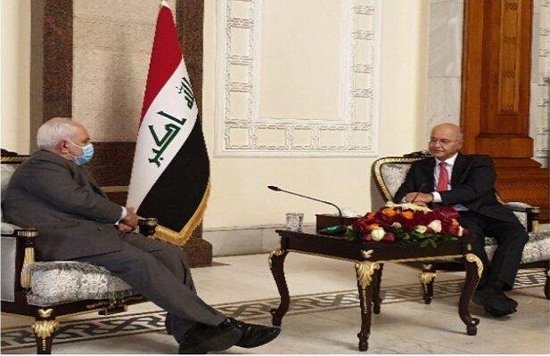 ظريف یلتقی الرئيس العراقي برهم صالح ويبحث معه القضايا ذات الاهتمام المشترك