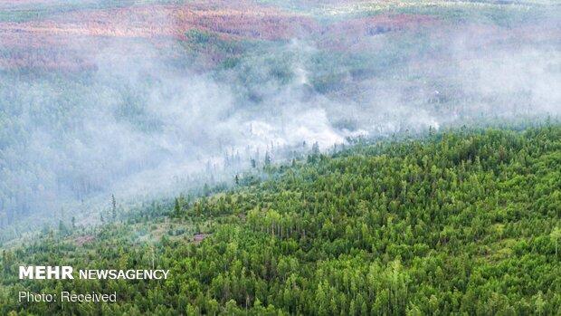 Sibirya ormanlarındaki yangından fotoğraflar