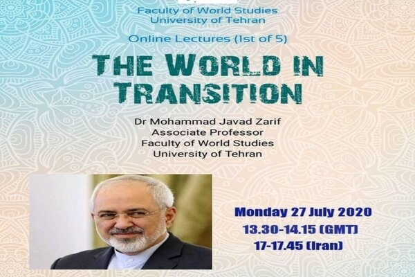 FM Zarif to address online lecture on Mon.