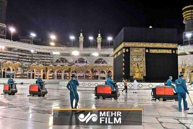 Mekke'deki dezenfekte çalışmaları devam ediyor