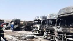 مصدومیت ۴ آتش نشان در آتش سوزی پارکینگ تانکرهای سوخت کرمانشاه