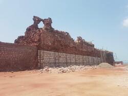 بخشی از دیوار قعله پرتغالیهای جزیره هرمز فرو ریخت