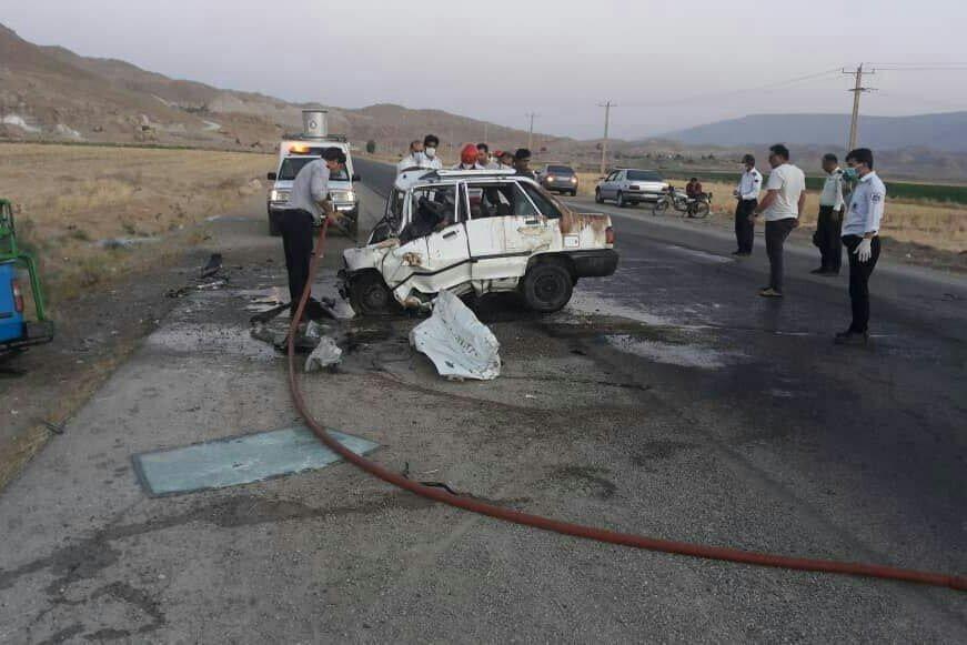 ٤ کشته و مجروح در تصادف پراید با تانکر حمل سوخت
