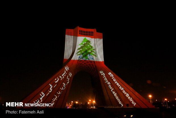 Lebanon's flag projected on Azadi Tower as sign of solidarity