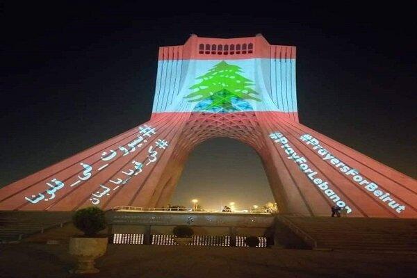 """العلم اللبناني يزين برج """"آزادي"""" والنشيد الوطني اللبناني بصدح في محيطه / فيديو"""