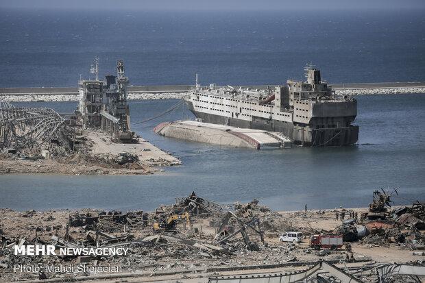 خسارت وارده به کشتی های پهلو گرفته در بندر بیروت