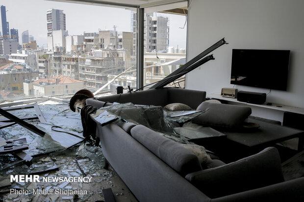 نمایی از داخل یکی از آپارتمان های اطراف بندر بیروت