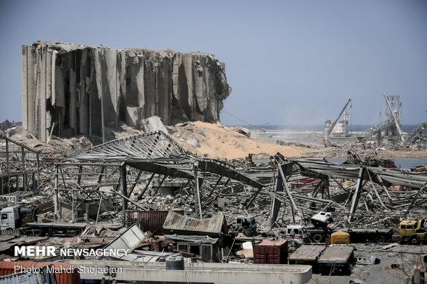 حجم الأضرار الناجمة عن الانفجار الهائل في مرفأ بيروت الدولي / صور