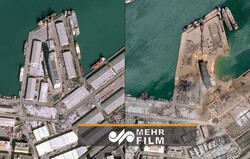 بیروت بندرگاہ  دھماکے کی نئی سیٹلائٹ تصاویر