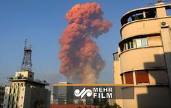 ہوٹل کے کیمرے کے ذریعہ  بیروت کی بندرگاہ پر ہونے والے دھماکے کا منظر