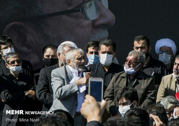 حاج منصور ارضی در مراسم تشییع پیکر فخرالذاکرین حاج فیروز زیرک کار در تبریز