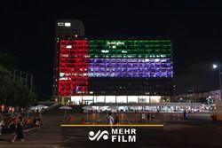 تل ابیب کی میونسپلٹی کو متحدہ عرب امارات کے پرچم کے رنگ میں رنگ دیا گیا