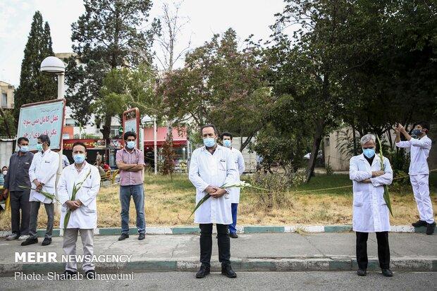 مراسم تشیع پیکر شهید مدافع سلامت سرهنگ پزشک اصغر عیسی آبادی