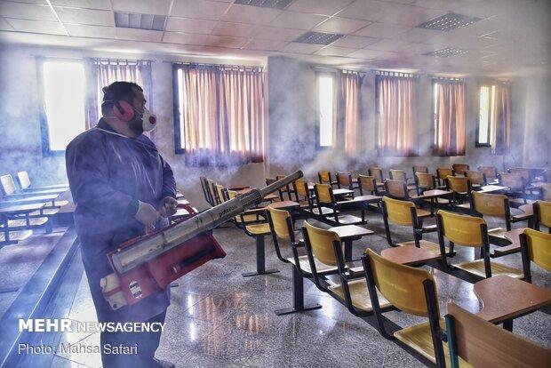 Sınav öncesi dezenfekte çalışması devam ediyor