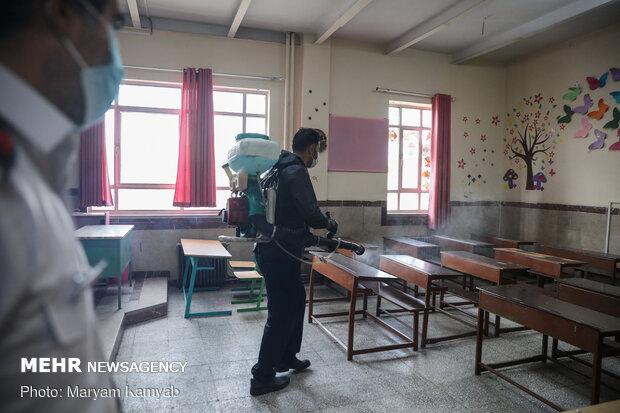 ضدعفونی مدارس توسط آتش نشانی