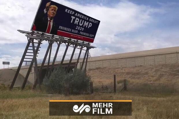Trump'ın seçim reklam panosu böyle aşağı çekildi