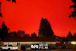 آسمان قرمز رنگ در اورگان آمریکا