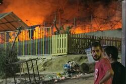 کمپ مهاجران در یونان درگیر حریق شد