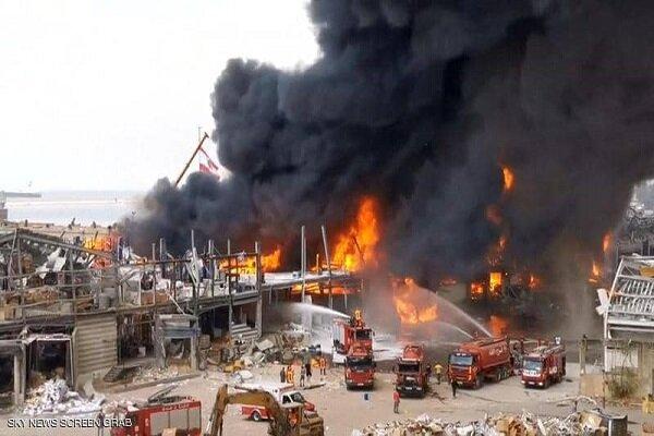 حريق في مرفاً بيروت !!!