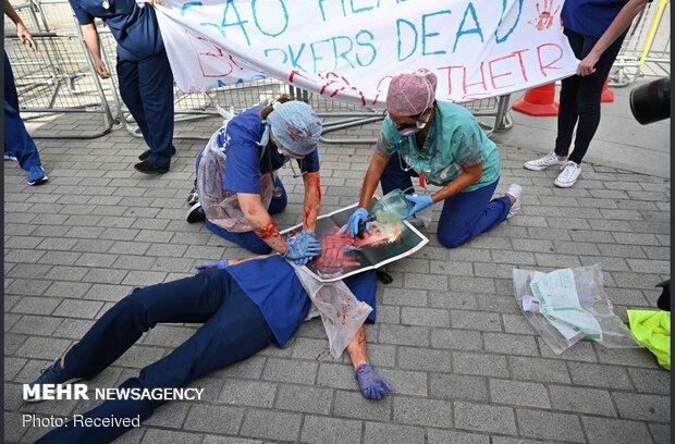 تظاهرات کادر بهداشت و درمان انگلیس ضد دولت