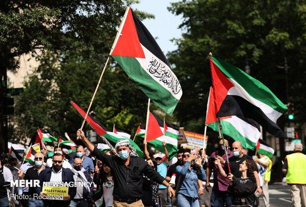 Beyaz Saray önünde İsrail'le normalleşme anlaşmasına protesto