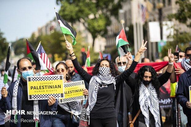 تظاهرات بر ضد توافق سازش اعراب با رژیم صهیونیستی در مقابل کاخ سفید