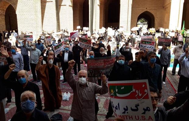 محکومیت توافق امارات و بحرین با اسرائیل توسط نمازگزاران ورامینی