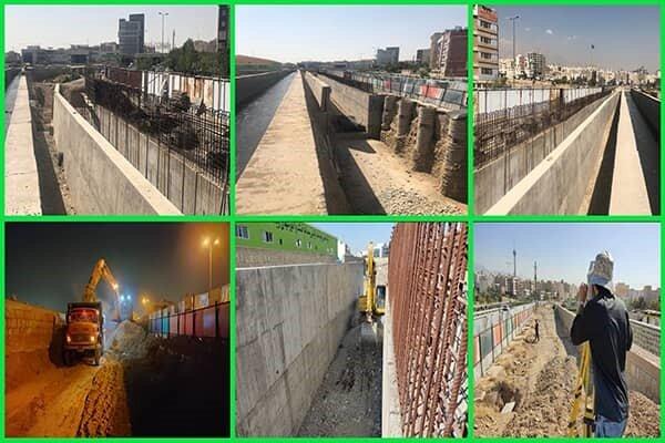 رفع گلوگاههای سیلابی کانال سیل برگردان غرب در تقاطع با پل نصر