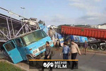 سقوط وحشتناک پل عابر پیاده ایستگاه گرگان بهشهر
