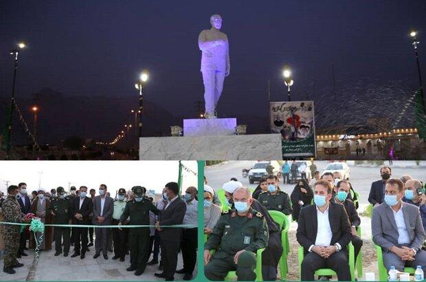 تندیس سردار شهید حاج قاسم سلیمانی در اهرم رونمایی شد