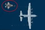 سقوط اف-۳۵ آمریکایی بعد از برخورد با هواپیمای هرکولس
