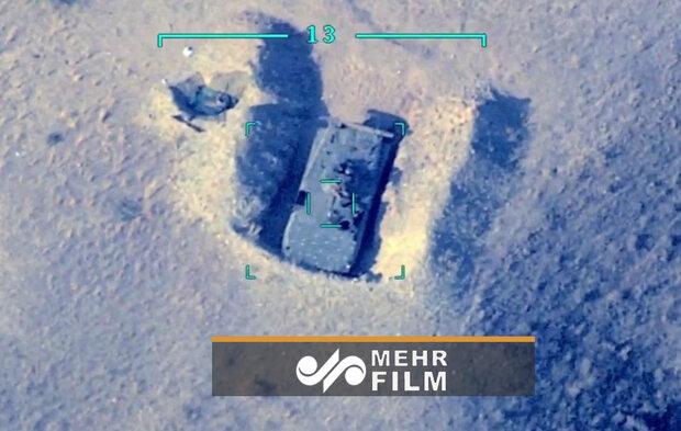 تصاویر پهپادی از لحظه انهدام ادوات نظامی ارمنستان