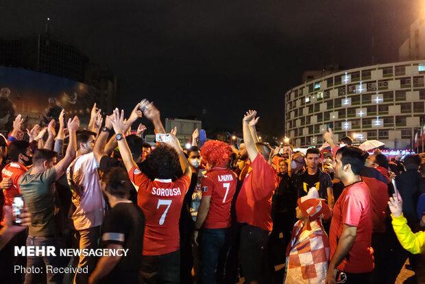 Persepolis fans celebrate victory over Al Nassr